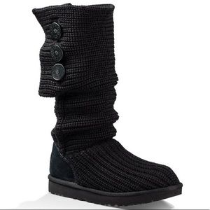 Ugg Black Cardy Button Back Triplet Knit Boots 6